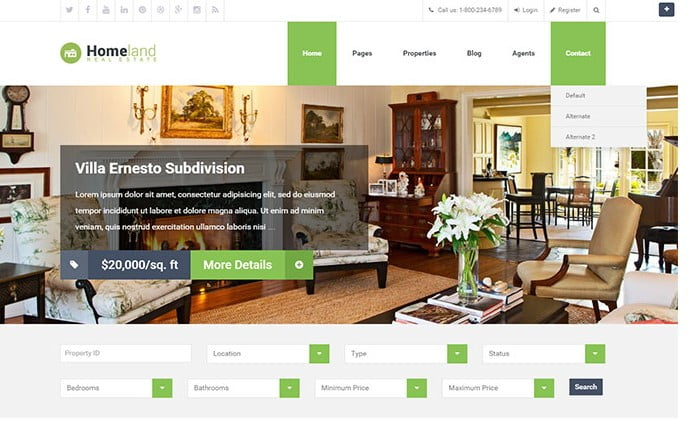 Homeland - 33+ Amazing Real Estate WordPress Themes [year]