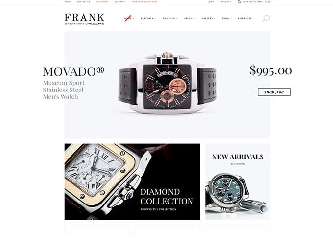 Jewelry - 34+ Top Online Watch Shop WordPress Themes [year]