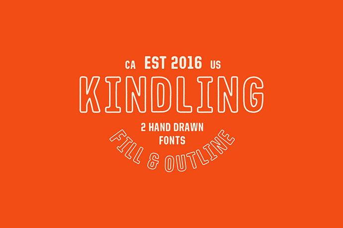 Kindling - 39+ Amazing Outline Fonts For Designer [year]