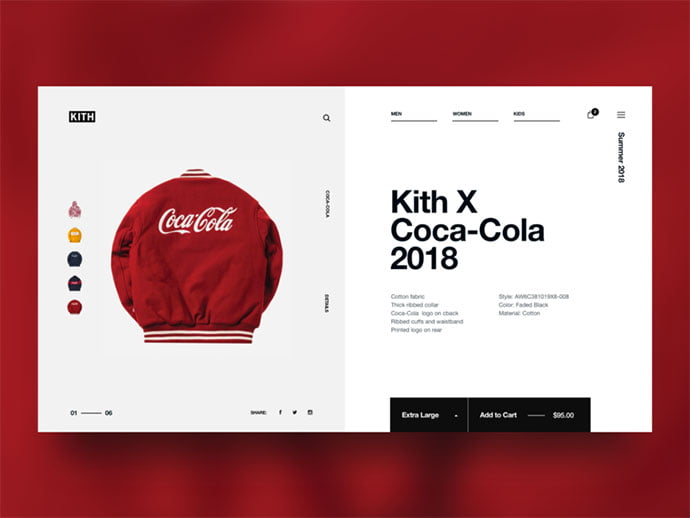 Kith-x-CocaCola - 53+ Awesome Shopping Cart UI Designs [year]