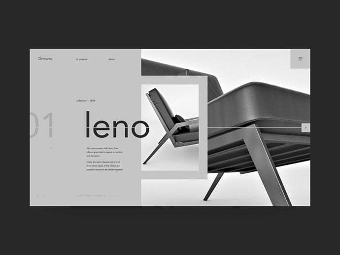 Landing-page-for-Leno - 63+ Impressive Free Furniture Web UI Example [year]