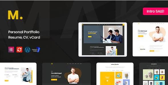 Mak - 34+ Portfolio WordPress Themes For Resume [year]