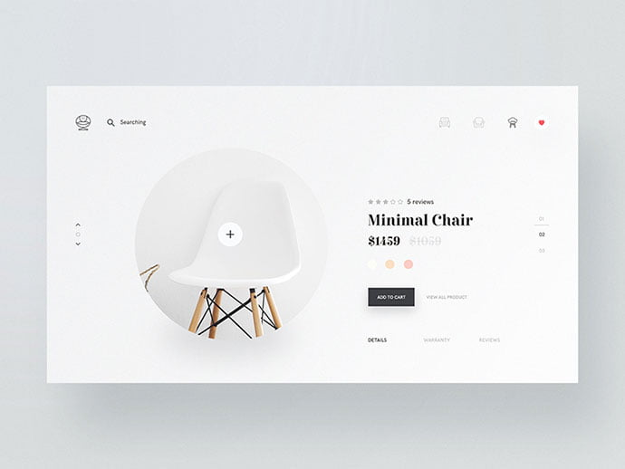 Minimal-Chair - 53+ Awesome Shopping Cart UI Designs [year]