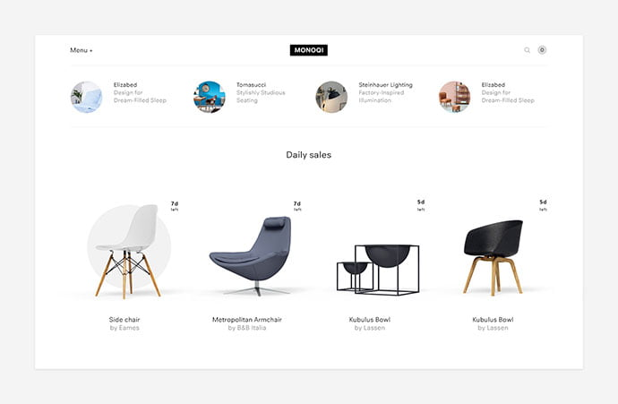 Monoqi-Concept - 63+ Impressive Free Furniture Web UI Example [year]