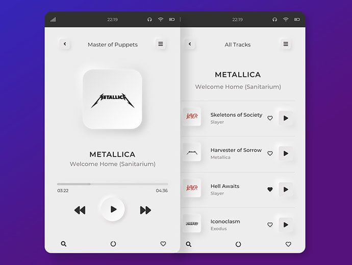 Mp3-Player - 43+ BEST FREE Neumorphism UI Design SAMPLE