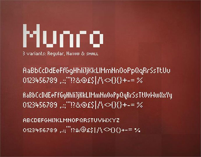 Munro - 33+ Lovely Free Retro Pixel & 8-Bit Style Fonts [year]
