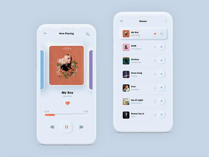 Music-Player-–-Soft-Ui - 43+ BEST FREE Neumorphism UI Design SAMPLE [year]