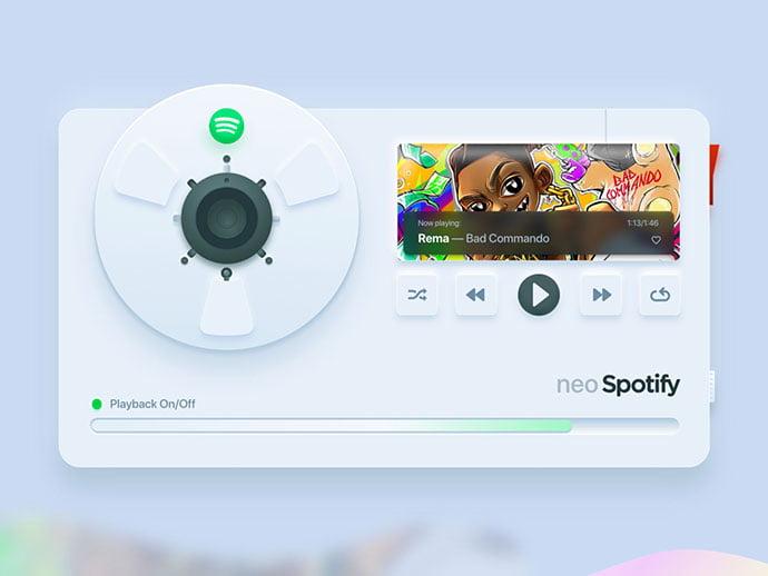 Neo-Spotify - 43+ BEST FREE Neumorphism UI Design SAMPLE [year]