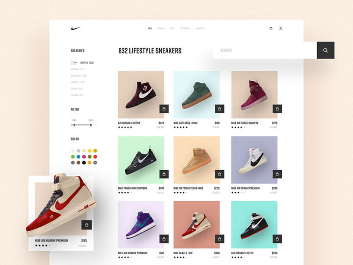 Nike - 53+ Awesome Shopping Cart UI Designs [year]