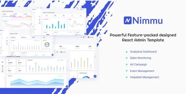 Nimmu - 38+ Amazing React Admin Dashboard Templates [year]