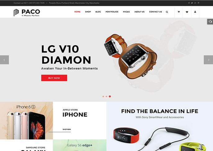 Paco - 34+ Top Online Watch Shop WordPress Themes [year]