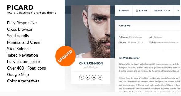 Picard - 34+ Portfolio WordPress Themes For Resume [year]
