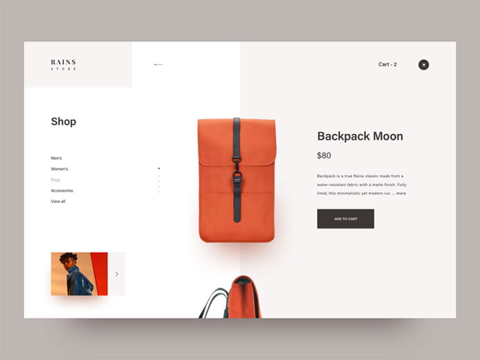 Rains - 53+ Awesome Shopping Cart UI Designs [year]