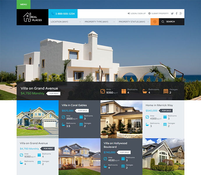 Real-Places - 33+ Amazing Real Estate WordPress Themes [year]