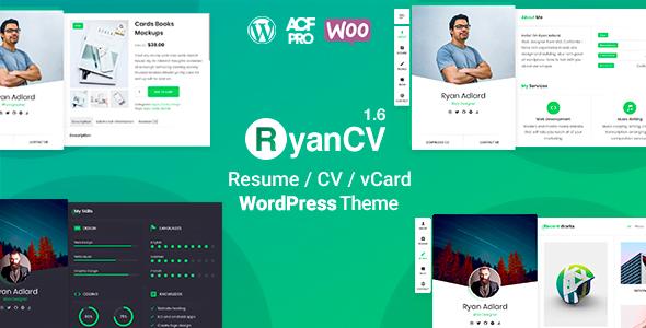 RyanCV - 34+ Portfolio WordPress Themes For Resume [year]