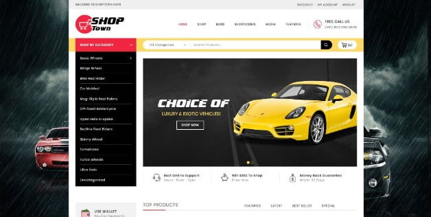 Shop-Town - 28+ Automotive Accessories WordPress Themes [year]