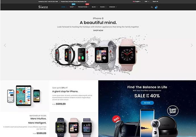 Siezz - 34+ Top Online Watch Shop WordPress Themes [year]