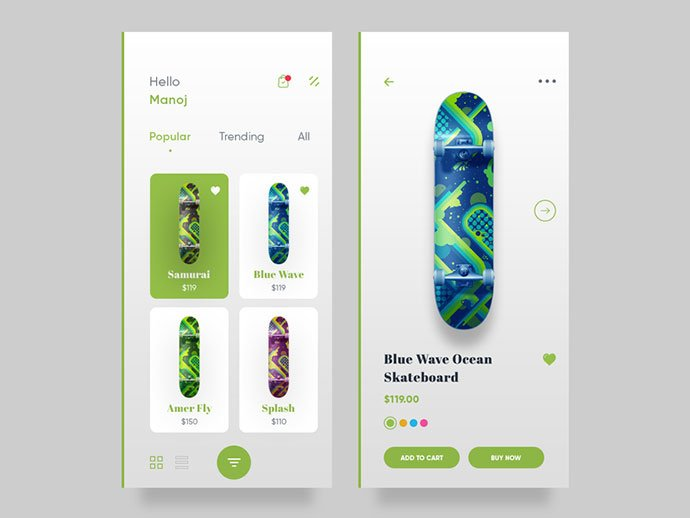 Skateboard - 53+ Awesome Shopping Cart UI Designs [year]