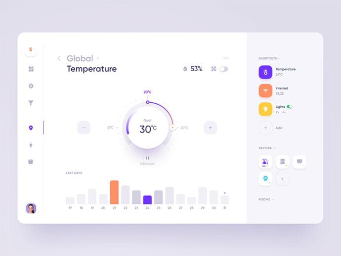 Smart-Home-App - 43+ BEST FREE Neumorphism UI Design SAMPLE