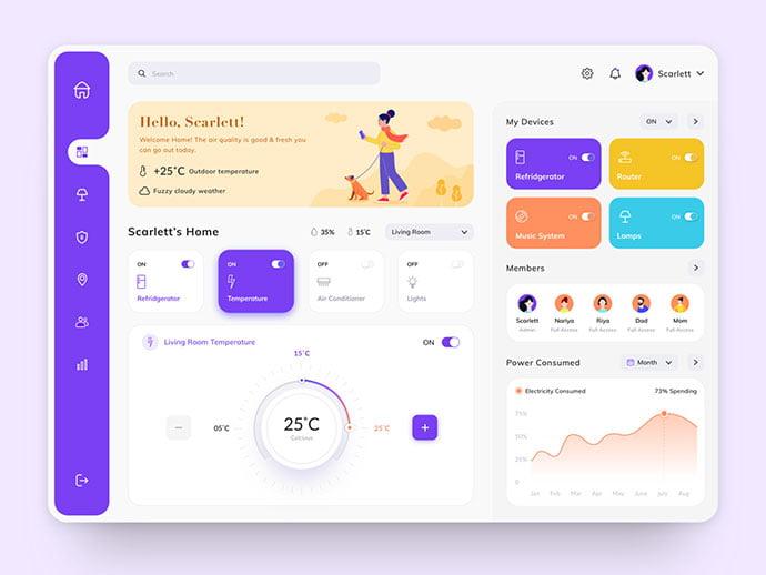 Smart-Home-Dashboard - 43+ BEST FREE Neumorphism UI Design SAMPLE