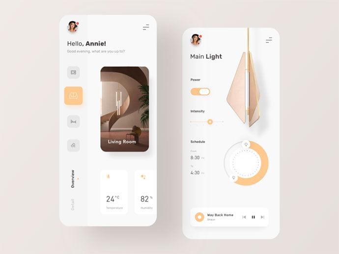Smart-Home - 43+ BEST FREE Neumorphism UI Design SAMPLE