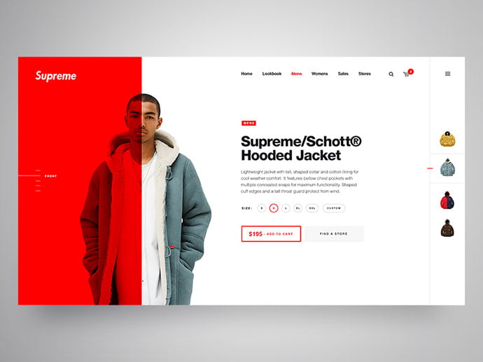 Supreme - 53+ Awesome Shopping Cart UI Designs [year]