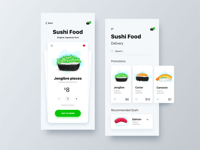 Sushi-Food - 53+ Awesome Shopping Cart UI Designs [year]