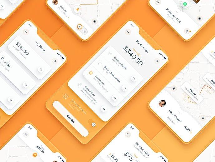 Taxi-Driver - 43+ BEST FREE Neumorphism UI Design SAMPLE