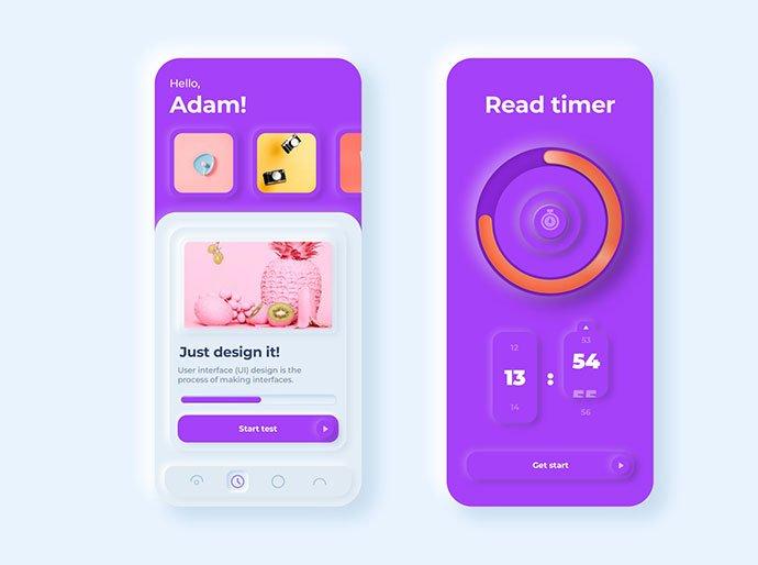 Timer-App - 43+ BEST FREE Neumorphism UI Design SAMPLE [year]