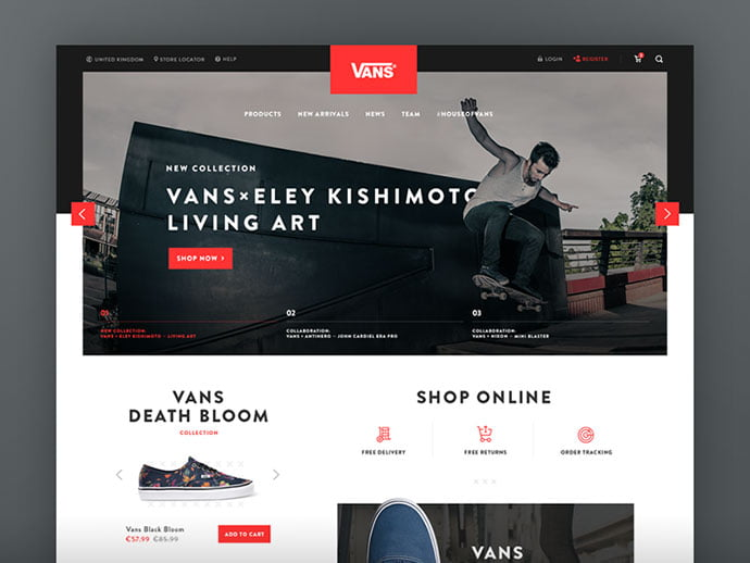 Vans-Redesign - 53+ Awesome Shopping Cart UI Designs [year]