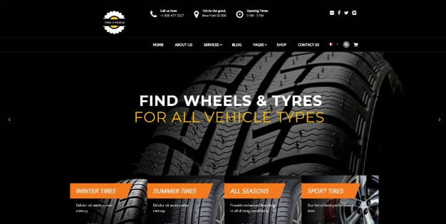 Wheels - 28+ Automotive Accessories WordPress Themes [year]