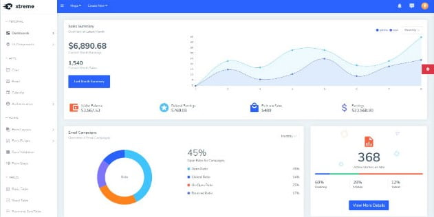 Xtreme - 38+ Amazing React Admin Dashboard Templates [year]