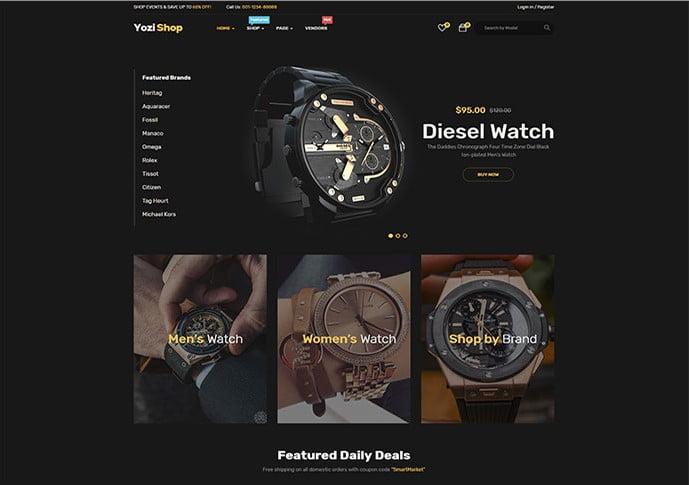 Yozi - 34+ Top Online Watch Shop WordPress Themes [year]