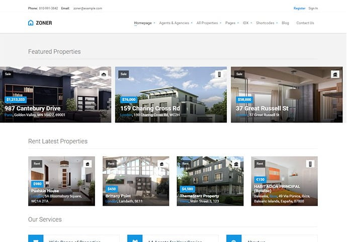 Zoner - 33+ Amazing Real Estate WordPress Themes [year]