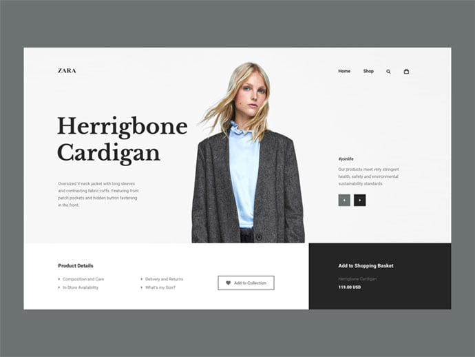 zara - 53+ Awesome Shopping Cart UI Designs [year]