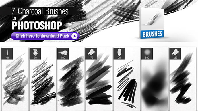7-Charcoal-Brushes - 43+ Amazing BEST Free Photoshop Brush Sets [year]