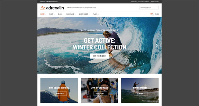 Adrenalin - 33+ Lovely Outdoor Gear WordPress Themes [year]