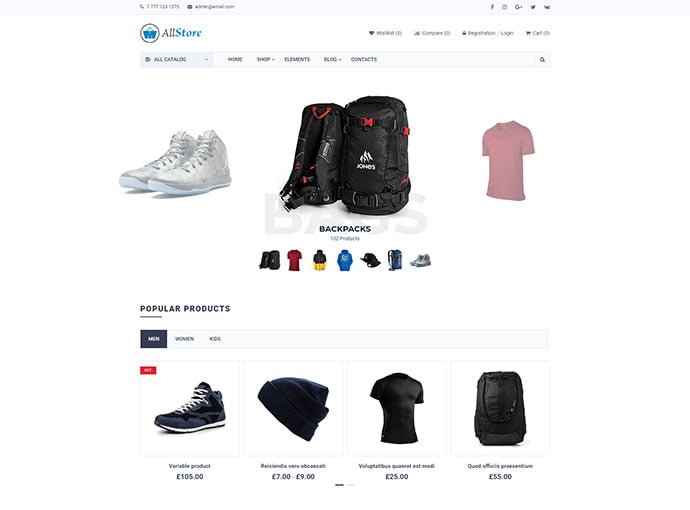AllStore - 33+ Lovely Outdoor Gear WordPress Themes [year]