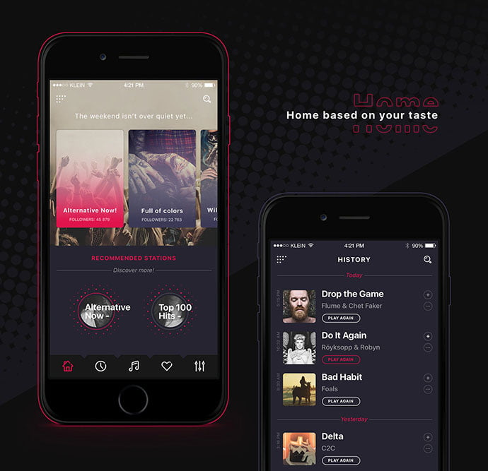 Alt-Radio-App - 63+ BEST Free PodCast Web & Mobile App UI Design IDEA [year]