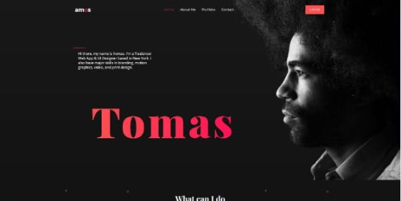 Amos - 33+ Creative WordPress Themes With About Me Page [year]
