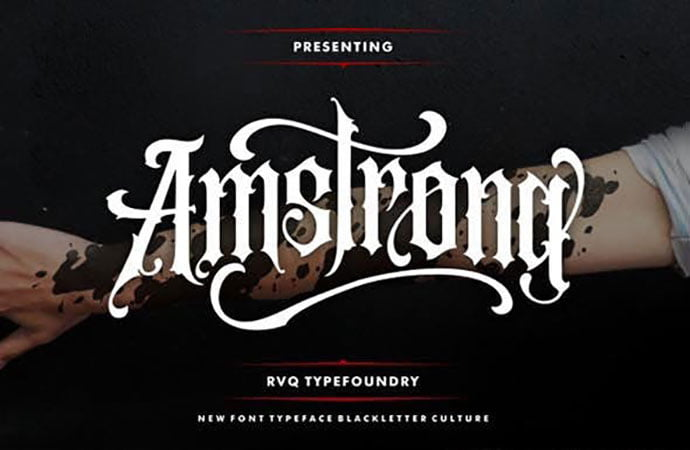 Amstrong - 53+ Nice T-shirt Design Hand Lettering Fonts [year]