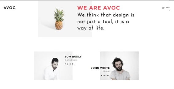 Avoc - 33+ Creative WordPress Themes With About Me Page [year]