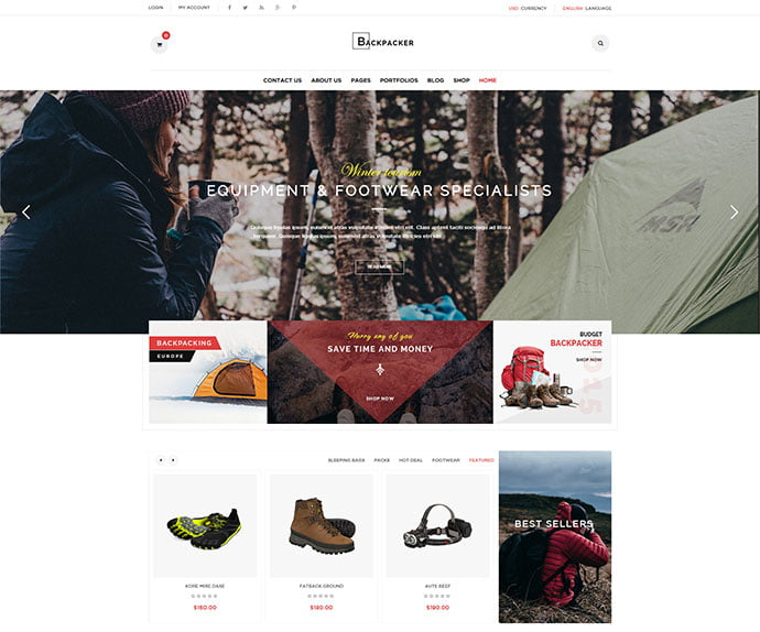 Backpacker - 33+ Lovely Outdoor Gear WordPress Themes [year]