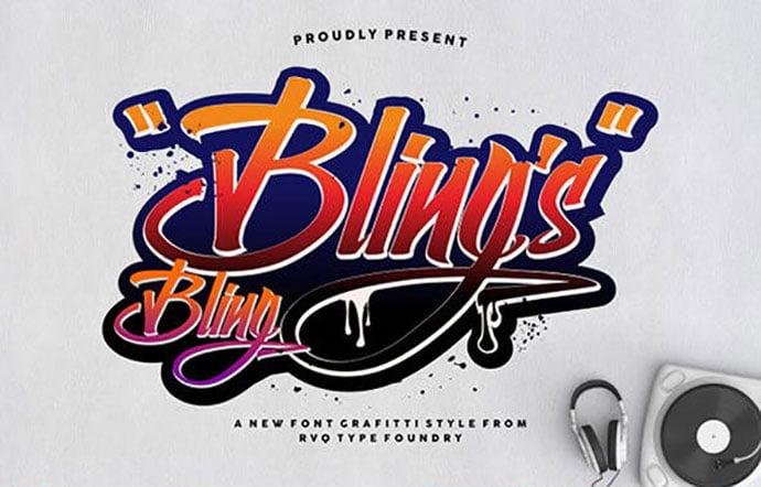 Bling-Blings - 53+ Nice T-shirt Design Hand Lettering Fonts [year]