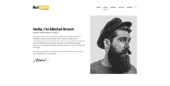 Buruhan - 33+ Creative WordPress Themes With About Me Page [year]