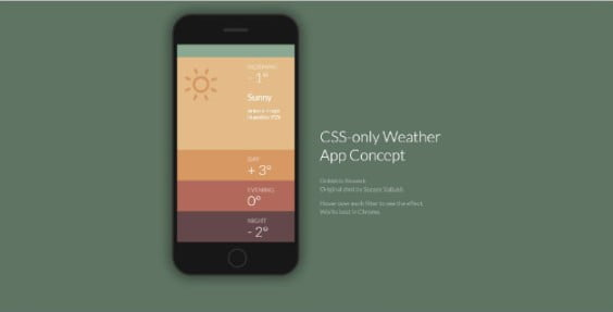 CSS-only-Weather-App-Concept - 38+ Nice BEST Free CSS Device Mockups [year]