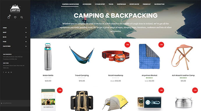 Camping - 33+ Lovely Outdoor Gear WordPress Themes [year]