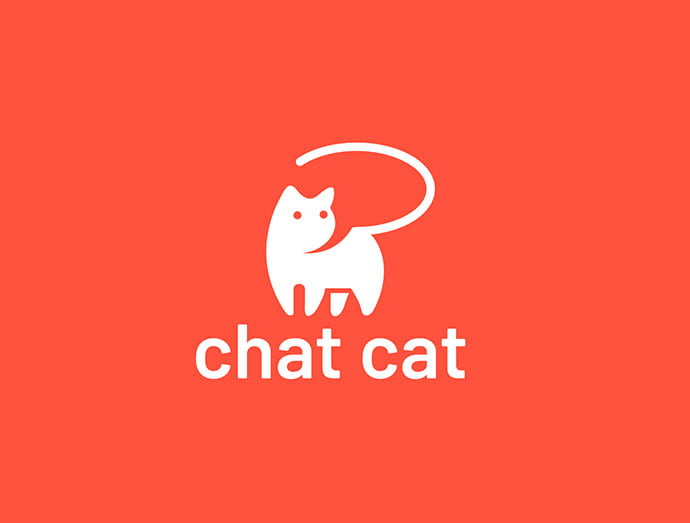 Chat-Cat - 43+ Top BEST Free Animal Logo Designs Example [year]
