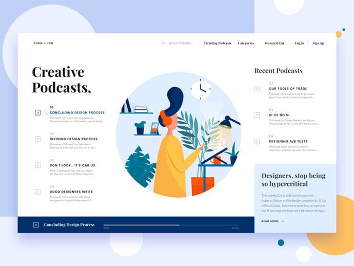 Chris-Jon - 63+ BEST Free PodCast Web & Mobile App UI Design IDEA [year]