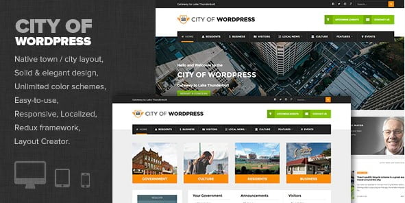 City-of-WP - 35+ Awesome WordPress Government Themes [year]